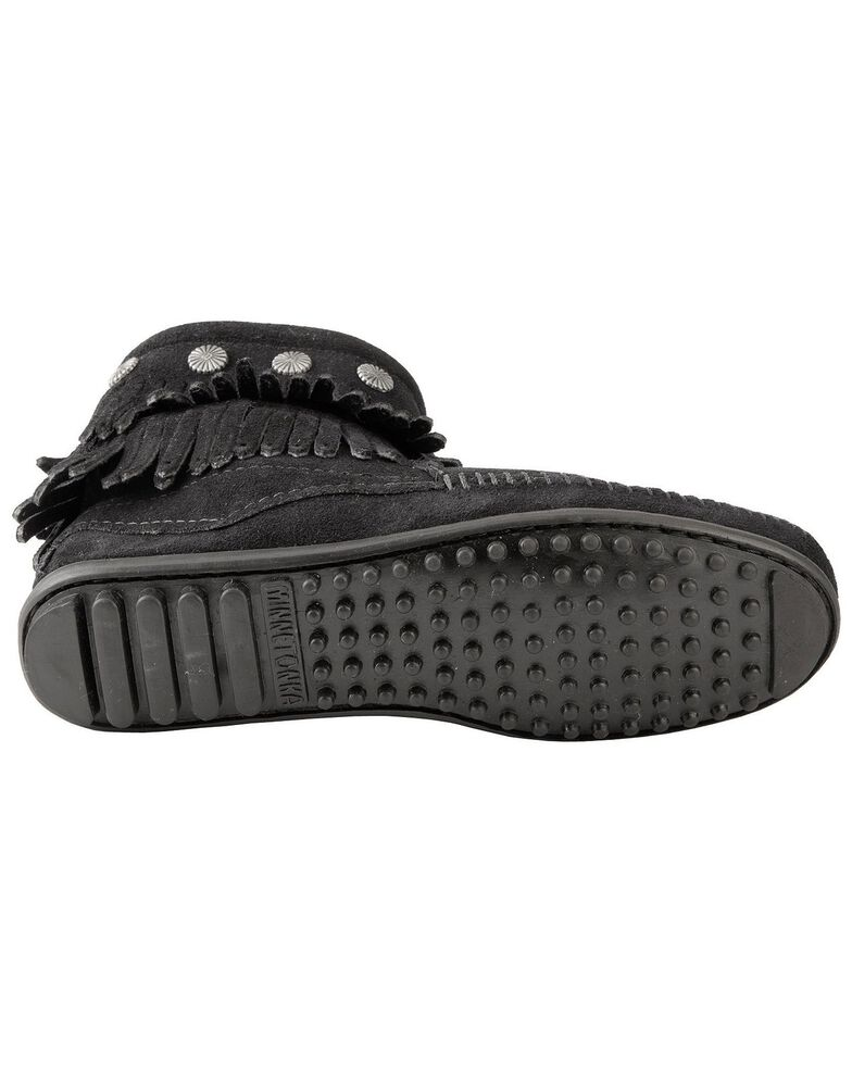 Minnetonka Double Fringe Side Zip Moccasin, Black, hi-res