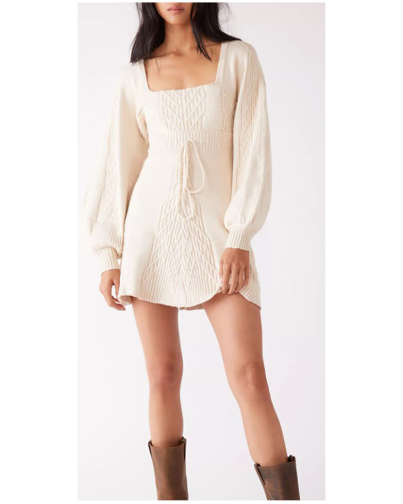Free People Women's Ivory Emmaline Mini Sweater Dress, Ivory, hi-res