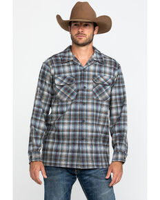 Pendleton Men's Grey Board Oxford Plaid Long Sleeve Western Shirt , Grey, hi-res