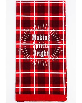 BB Ranch Christmas Plaid Tea Towel, Red, hi-res