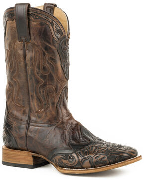 Stetson Men's Brown Hand-Tooled Colonel Boots - Square Toe , Brown, hi-res