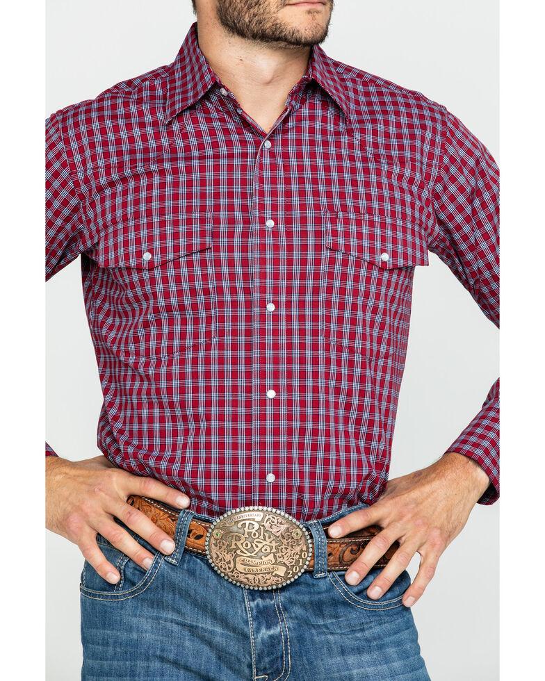 Wrangler Men's Wrinkle Resist Micro Plaid Long Sleeve Western Shirt , Red, hi-res