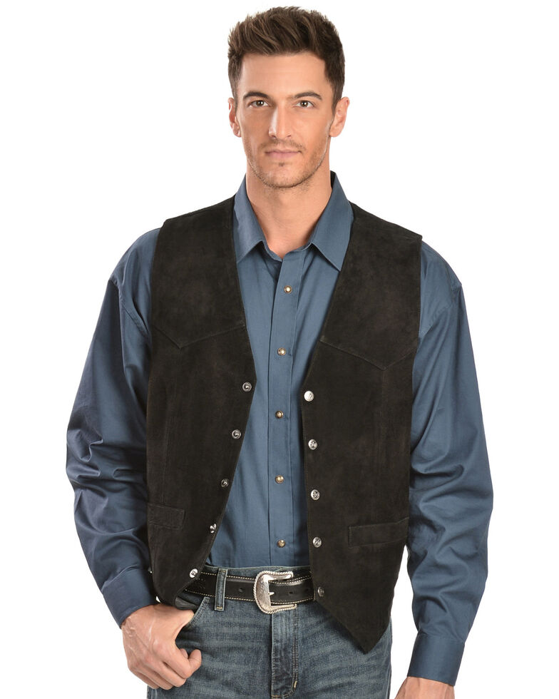 Scully Men's Lambskin  Calf Suede Snap Front Vest, Black, hi-res