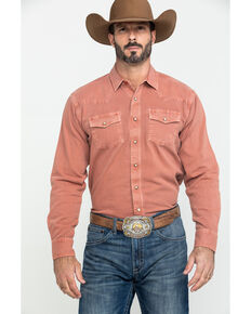 Ariat Men's Orange Jurlington Retro Solid Long Sleeve Western Shirt , Orange, hi-res