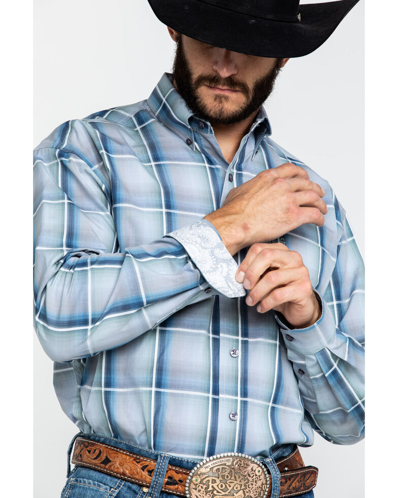 Stetson Men's Sage Ombre Plaid Long Sleeve Western Shirt , Grey, hi-res