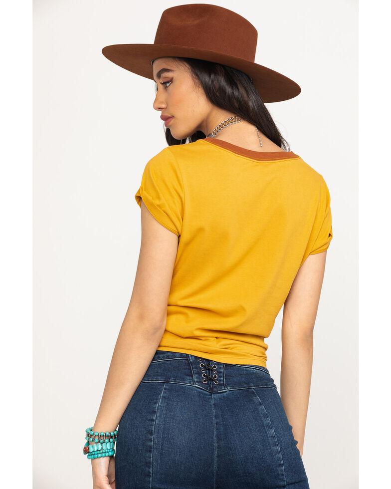 Shyanne Women's Mustard Howdy Graphic Ringer Tee, Dark Yellow, hi-res