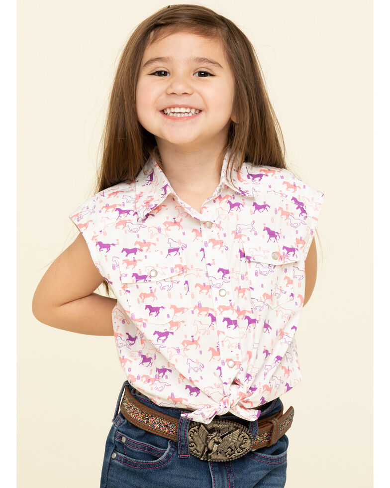 Shyanne Toddler Girls' Print Tie-Up Front Snap Shirt , White, hi-res