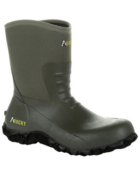 Rocky Men's Core Chore Rubber Outdoor Boots - Round Toe, Olive, hi-res