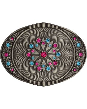 Montana Silversmiths Starburst Flower Belt Buckle, Silver, hi-res