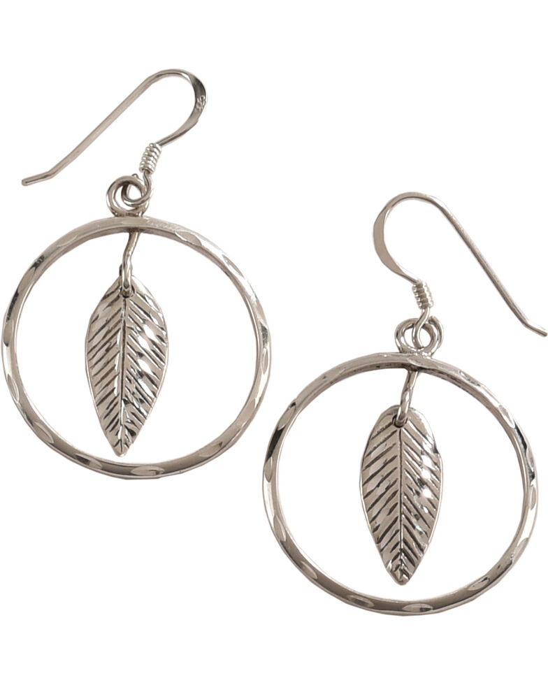 Silver Legends Women's Feather Diamond Cut Dangle Earrings , Silver, hi-res