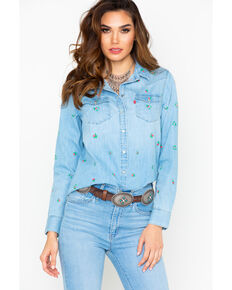 Levi's Women's Get Up Embroidered Long Sleeve Denim Shirt  , Blue, hi-res