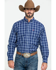 Ariat Men's Gadson Plaid Long Sleeve Western Shirt , Blue, hi-res