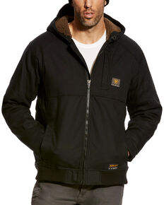 Ariat Men's Black Rebar Duracanvas Hooded Work Jacket, Black, hi-res