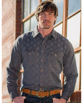 Ryan Michael Men's Diamond Jacquard Western Shirt, Brown, hi-res