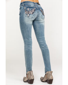 Miss Me Women's Diamond Wing Skinny Jeans, Medium Blue, hi-res