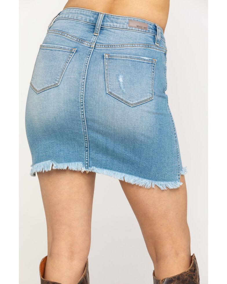 Miss Me Women's Light Wash High Rise Raw Denim Skirt, Blue, hi-res