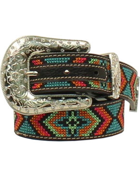 Nocona Girls' Multi Rhinestones Leather Belt , Multi, hi-res