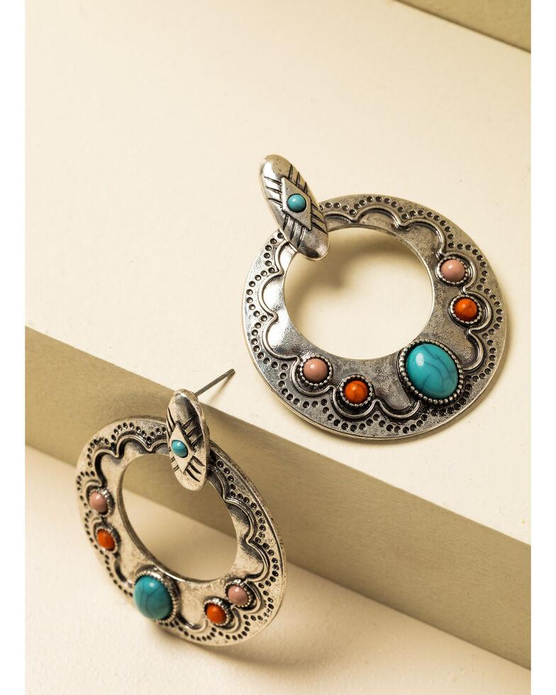 Shyanne Women's In The Oasis Antique Silver Stone Hoop Earrings , , hi-res
