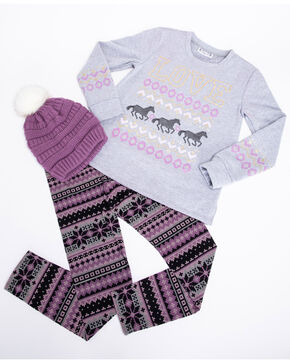 Shyanne Girls' Love Horses Beanie 3 Piece Set , Purple, hi-res