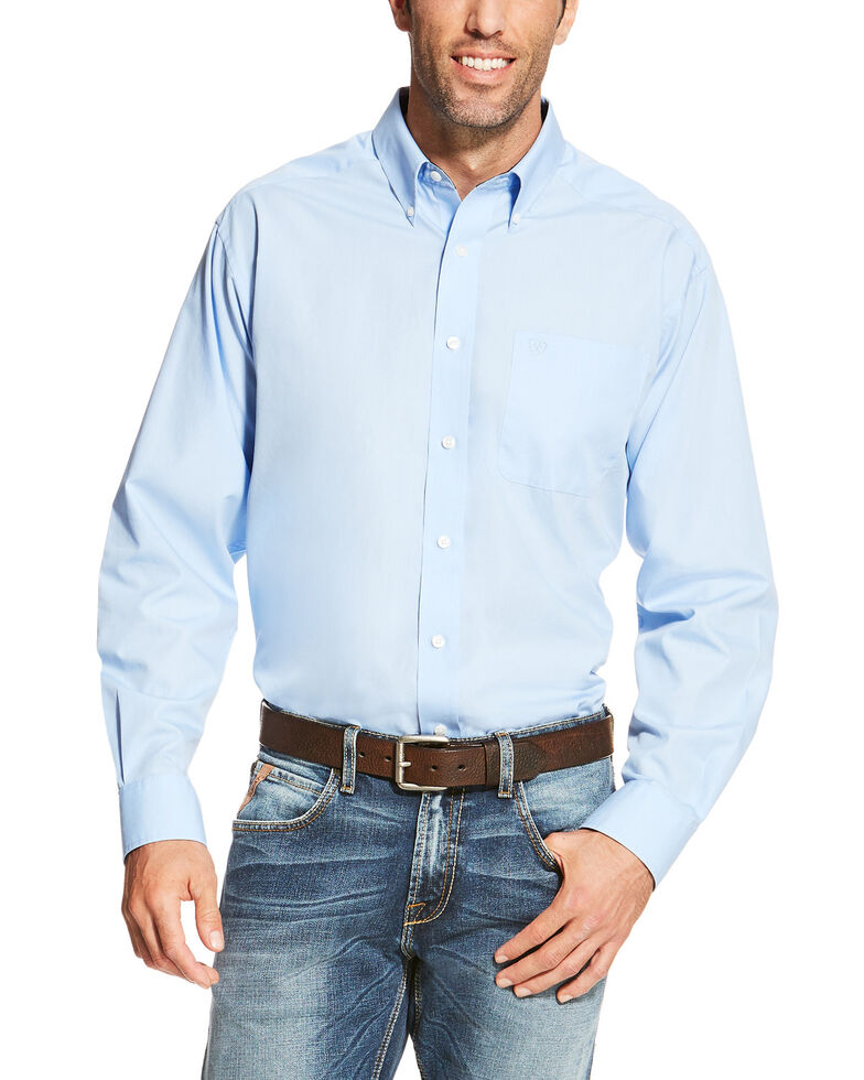 Ariat Men's Blue Wrinkle Free Button Long Sleeve Western Shirt - Big , Blue, hi-res