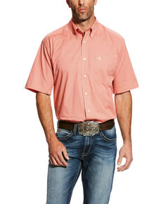 Ariat Men's Harsley Stretch Geo Print Short Sleeve Western Shirt , Orange, hi-res