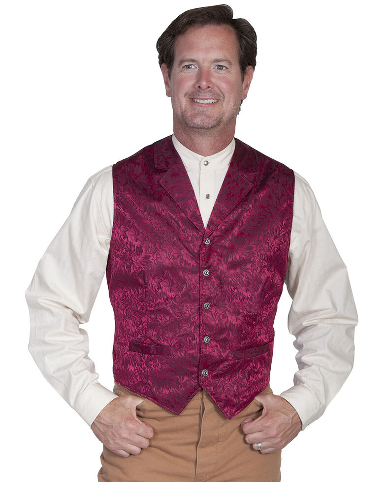 Scully Men's Silk Vest, Burgundy, hi-res