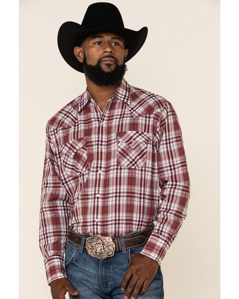 Ely Cattleman Men's Blue & Burgundy Small Plaid Long Sleeve Western Shirt , Burgundy, hi-res