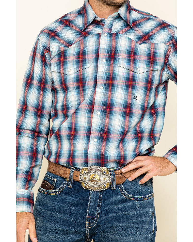 Roper Men's Amarillo Denim Ombre Plaid Long Sleeve Western Shirt , Blue, hi-res