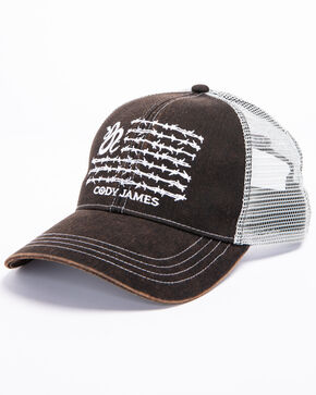 Cody James Men's Snake Barbed Flag Trucker Cap, Black, hi-res