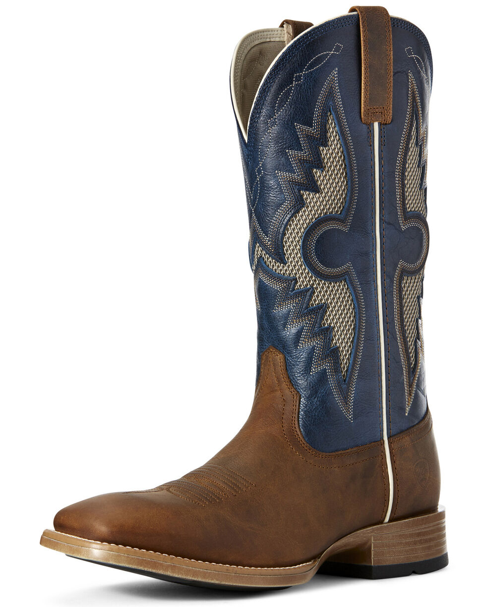 Ariat Men's Soldado VentTEK Western Boots - Wide Square Toe, Blue, hi-res