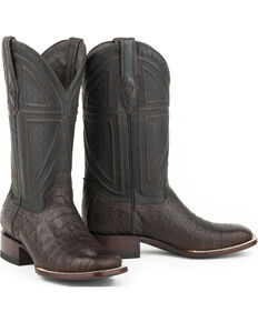 Stetson Men's Kaycee Caiman Belly Vamp Exotic Boots, Tan, hi-res