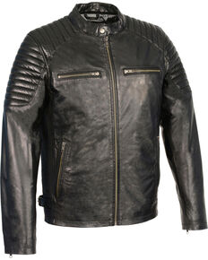 Milwaukee Leather Men's Quilted Shoulders Snap Collar Leather Jacket - 5X, Black, hi-res