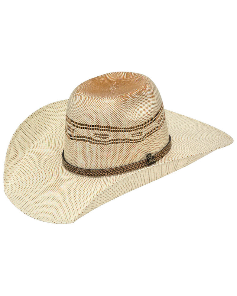 Ariat Natural Brick Top Bangora Straw Western Hat , Natural, hi-res