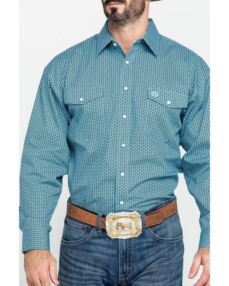 Panhandle Select Men's Blue Poplin Geo Print Long Sleeve Western Shirt , Blue, hi-res