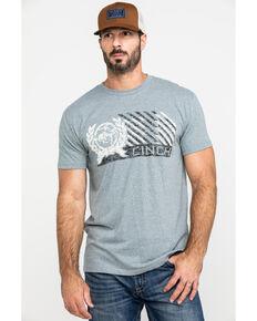 Cinch Men's Grey Logo Crest Graphic T-Shirt , Heather Grey, hi-res