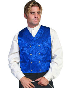 Scully Men's Floral Pattern Silk Vest, Royal, hi-res