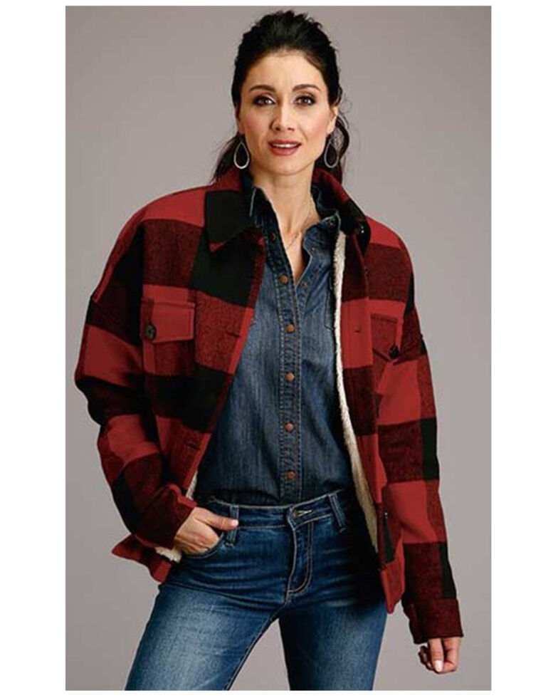 Stetson Women's Buffalo Plaid Sherpa Lined Shirt Jacket, Red, hi-res