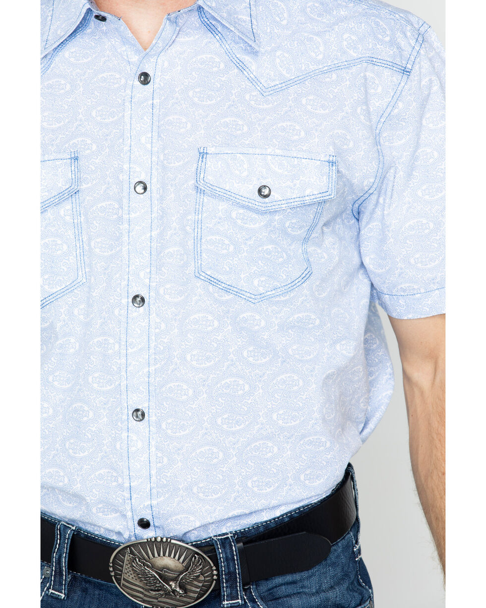 Moonshine Spirit Men's Aztec Paisley Short Sleeve Western Shirt, Light Blue, hi-res