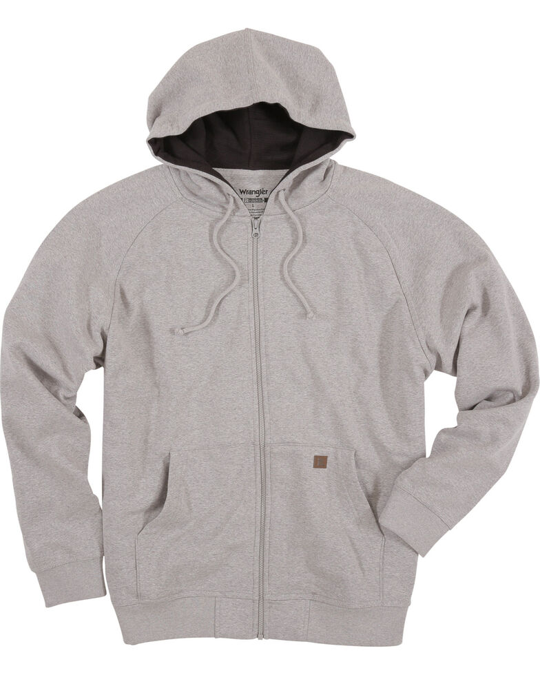 Wrangler Riggs Men's Heather Grey Zip-Up Hooded Work Sweatshirt , Heather Grey, hi-res