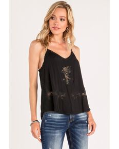 Miss Me Women's Floral Lace Layering Tank, Black, hi-res