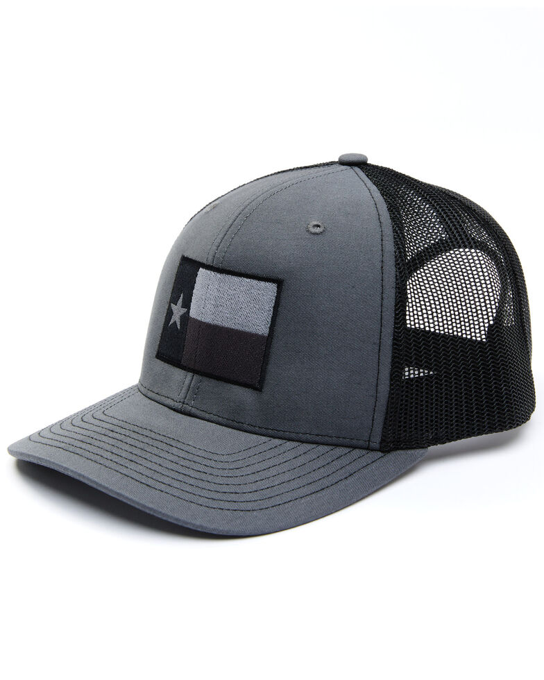 Oil Field Hats Men's Black Heather Texas Flag Mesh-Back Ball Cap , Black, hi-res
