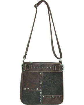 Savana Women's Faux Leather Patchwork Tote Messenger Bag , Brown, hi-res