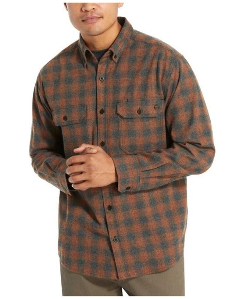 Wolverine Men's Grey & Orange Plaid Glacier Midweight Long Sleeve Flannel Work Shirt , Mahogany, hi-res