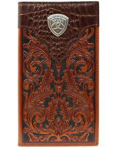 Ariat Men's Rodeo Bi-Fold Tooled Leather Wallet, Tan, hi-res