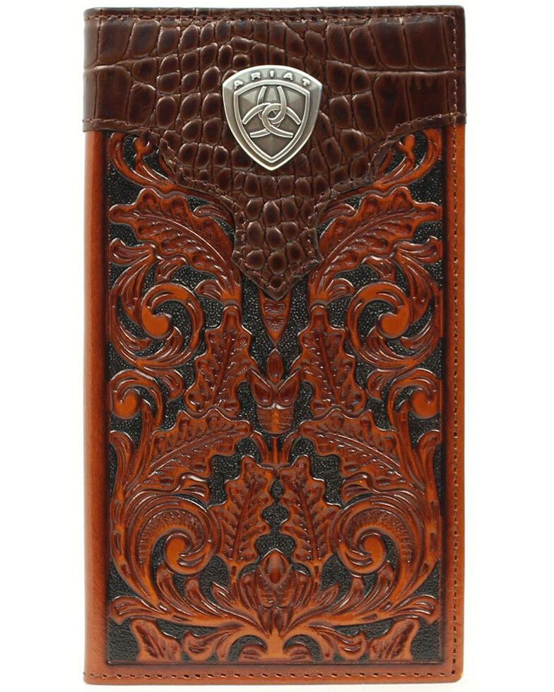 Ariat Men's Rodeo Bi-Fold Tooled Leather Wallet, Tan, hi-res