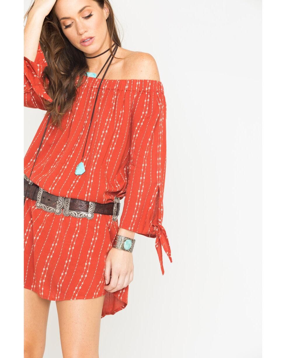 Miss Me Women's Off The Shoulder Printed Dress, Orange, hi-res