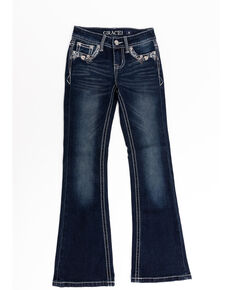 Grace in LA Girls' Dark Wash Floral Pocket Bootcut Jeans , Blue, hi-res