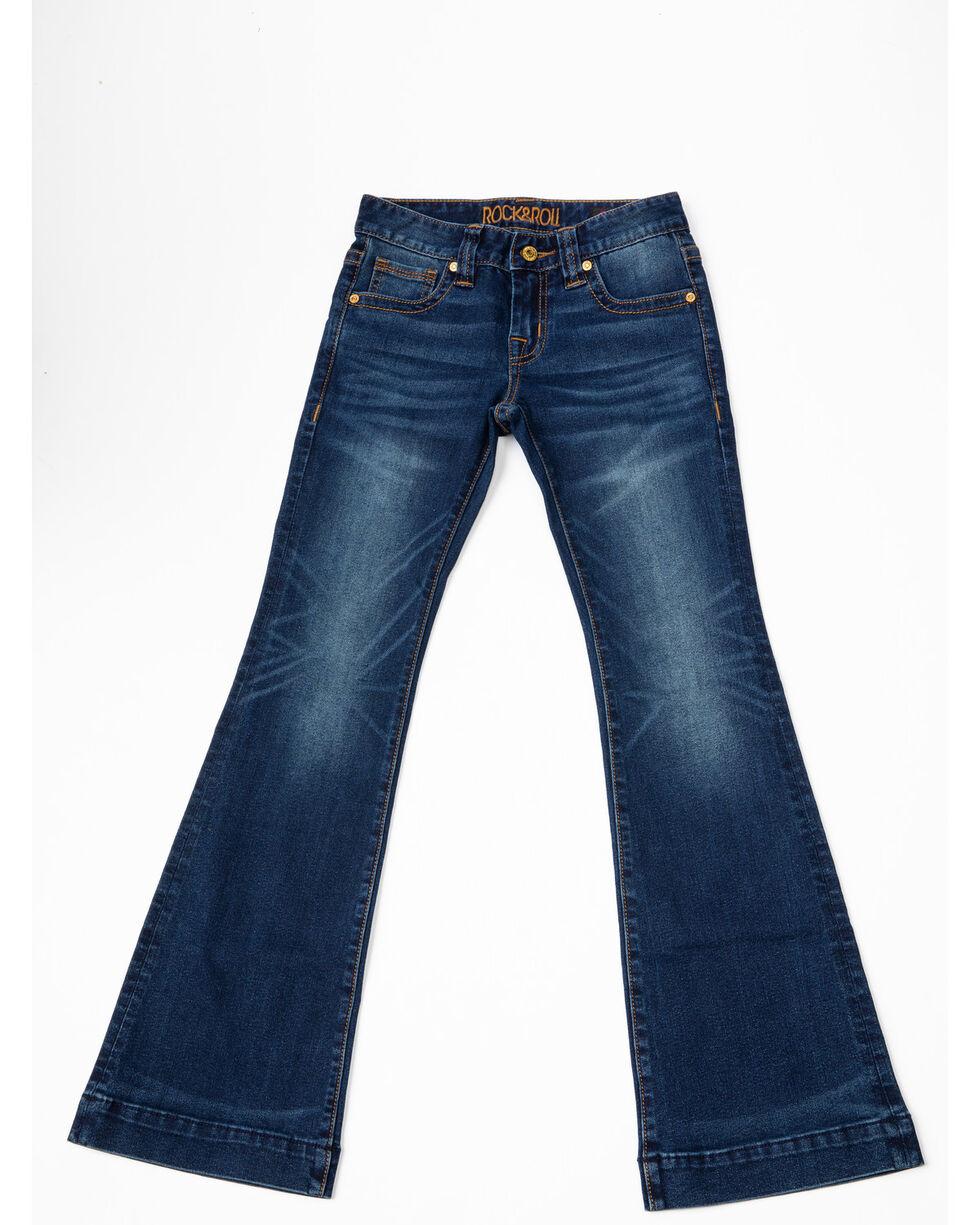 Rock & Roll Cowgirl Girls' Vintage Trouser Jeans, Dark Blue, hi-res