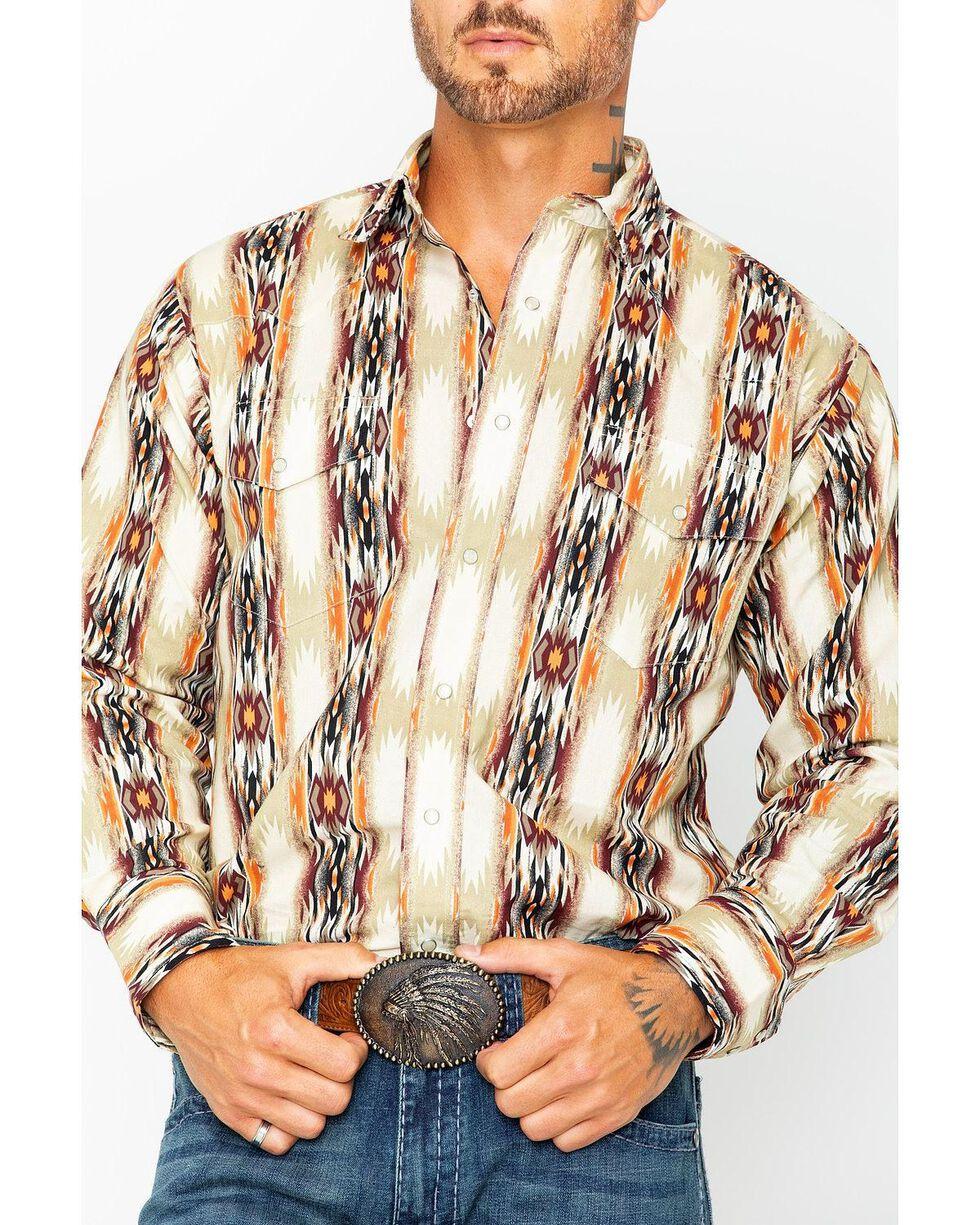 Wrangler Men's Tan Checotah Printed Shirt , , hi-res