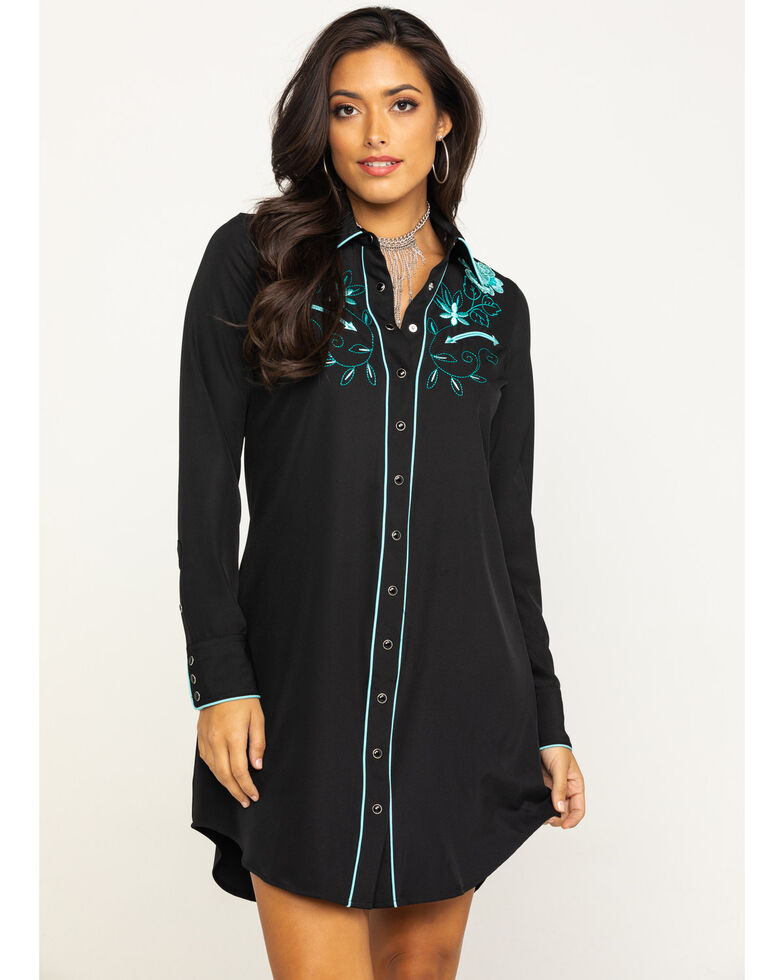 Old West Women's Black Embroidered Long Sleeve Western Shirt Dress, Black, hi-res
